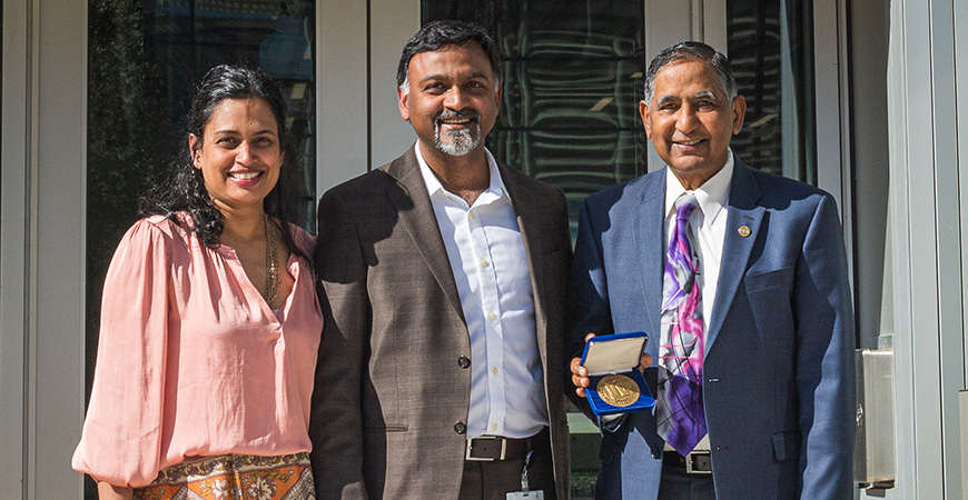 The Lakireddy family has long supported UC Merced's mission. Dr. Vikram Lakireddy and Priya Lakireddy pose with Dr. Hanimireddy Lakireddy, 2020 recipient of the Chancellor's Medal.